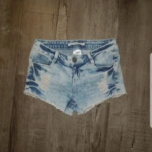 Vanilla Star Blue Jean Shorts - Distressed Shorts